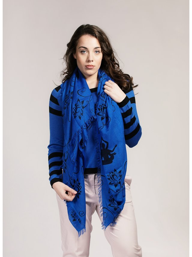 Asneh Lotus Print Scarf in Silk Cashmere