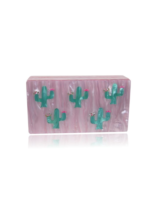 Milanblocks Pink and Green Cactus Acrylic Box Clutch