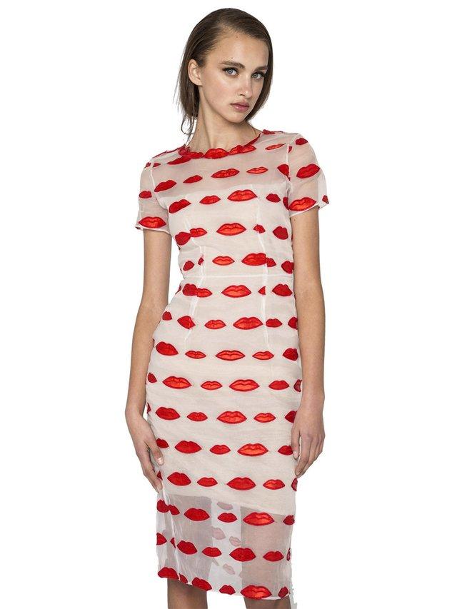 Narces Red Lips Organza Dress