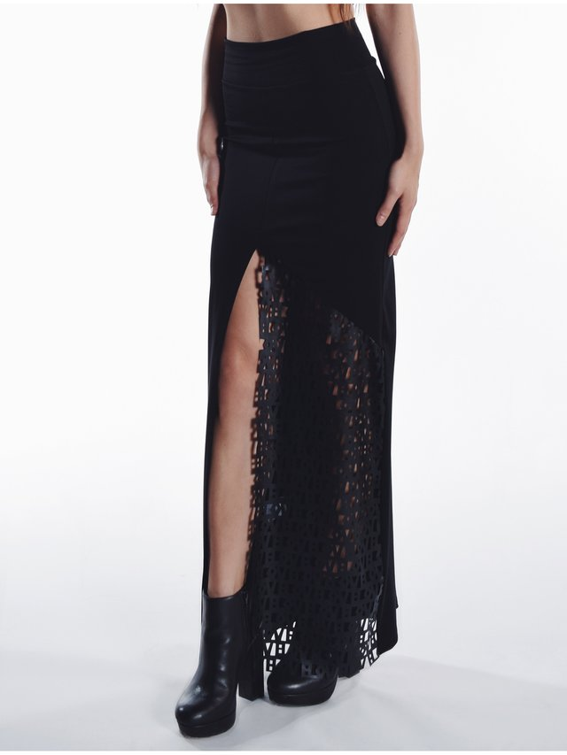 Cara Cheung Block Maxi Skirt Typo Leather