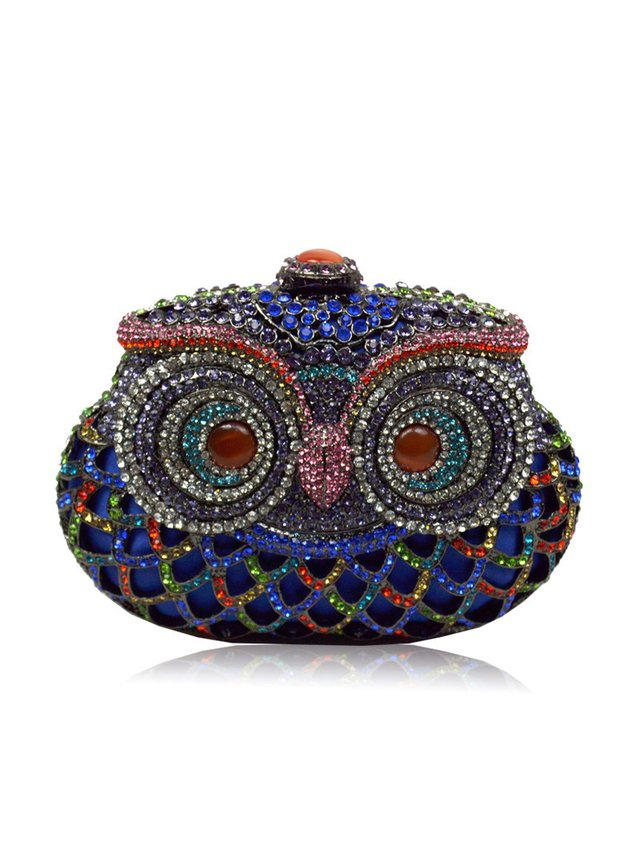 Milanblocks Handmade Crystal Owl Hollow Out Evening Clutch