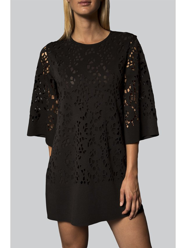 Narces Black Laser Cut Tunic Dress