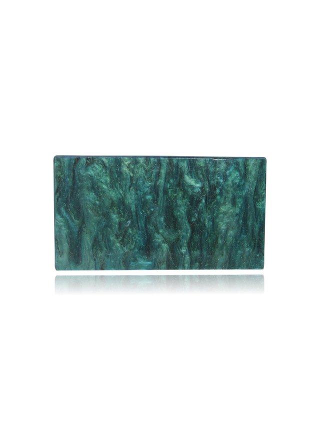 Milanblocks Sea Green Glitter Acrylic Box Clutch with Mirror