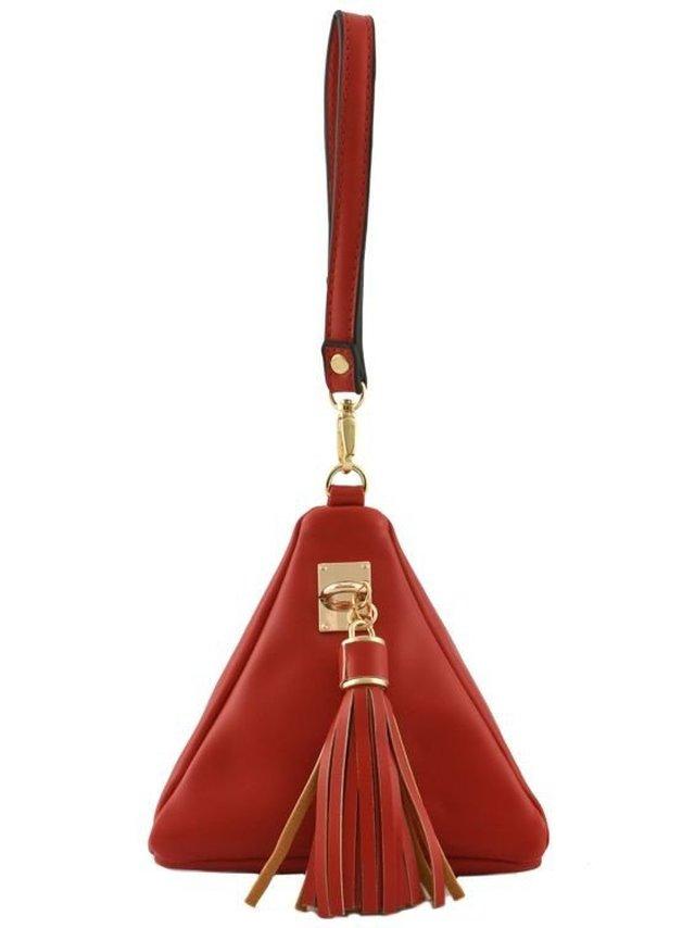 Arcade Attire Triangle Shape Tassel Clutch Bag - Red