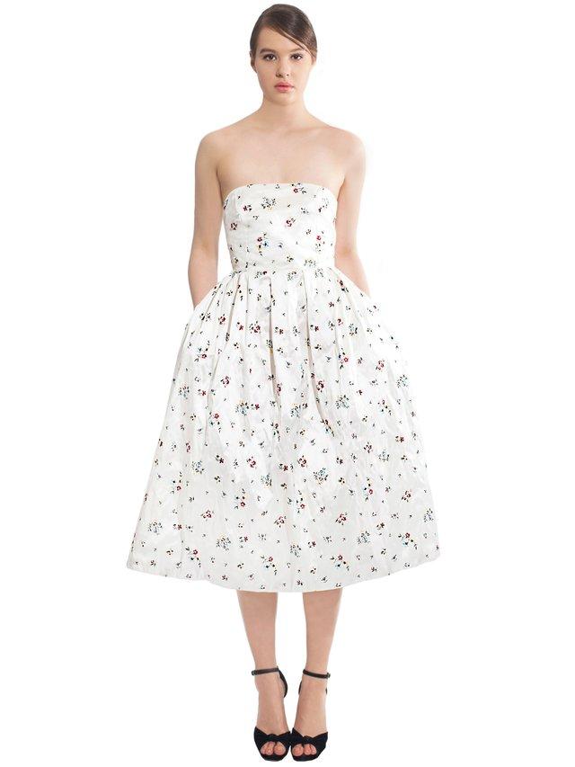 LIZA VETA Midi Floral Silk Dress