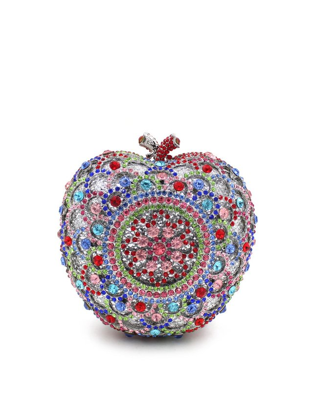 Milanblocks Apple Shape Bridal Metal Minaudiere Crystal Rhinestones Clutch