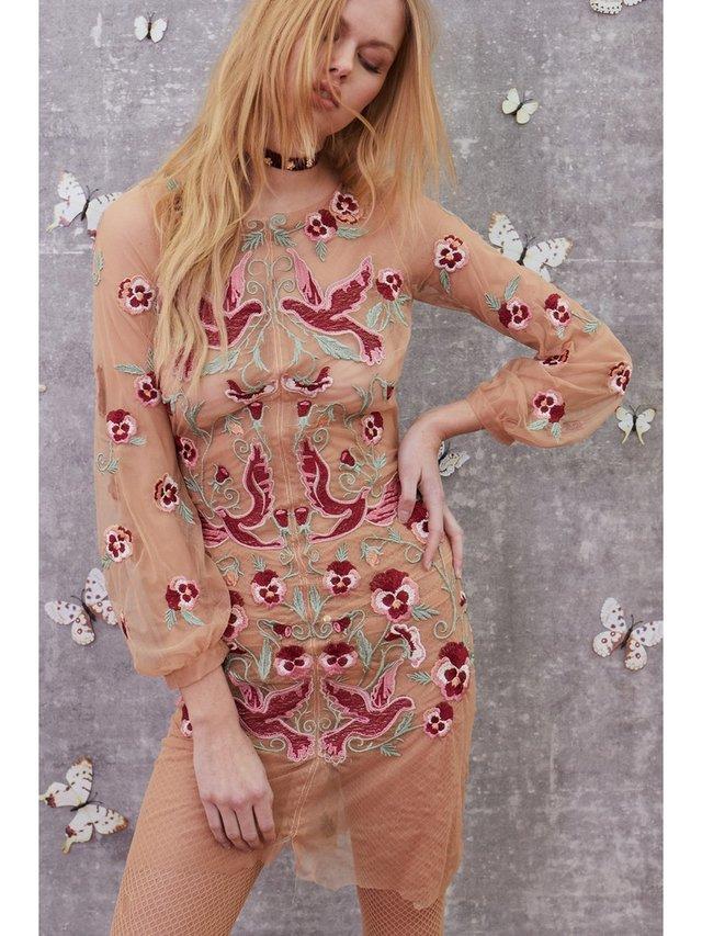 For Love & Lemons Dove Embroidery Mini Dress