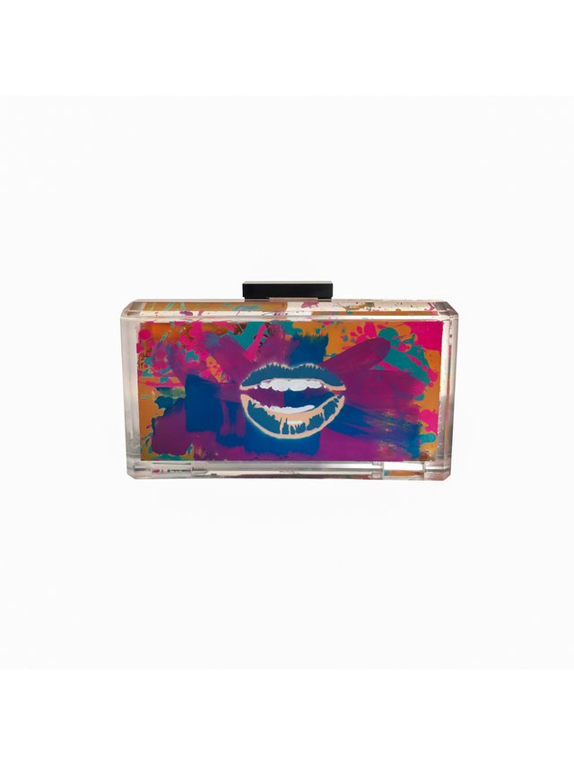 Stefanie Phan Read My Lips Hand Painted Graffiti Acrylic Clutch