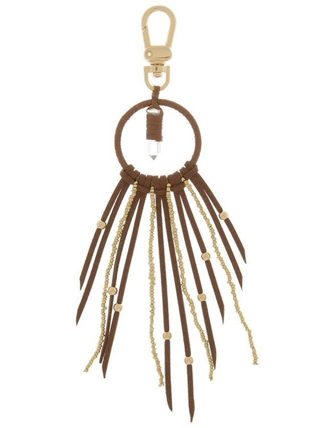 Arcade Attire Stone Accent Suede Beaded Fringe Keychain - Brown