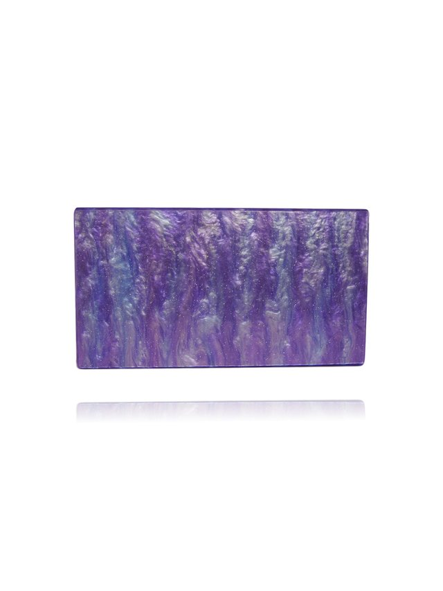 Milanblocks Purple Glitter Acrylic Box Clutch with Mirror