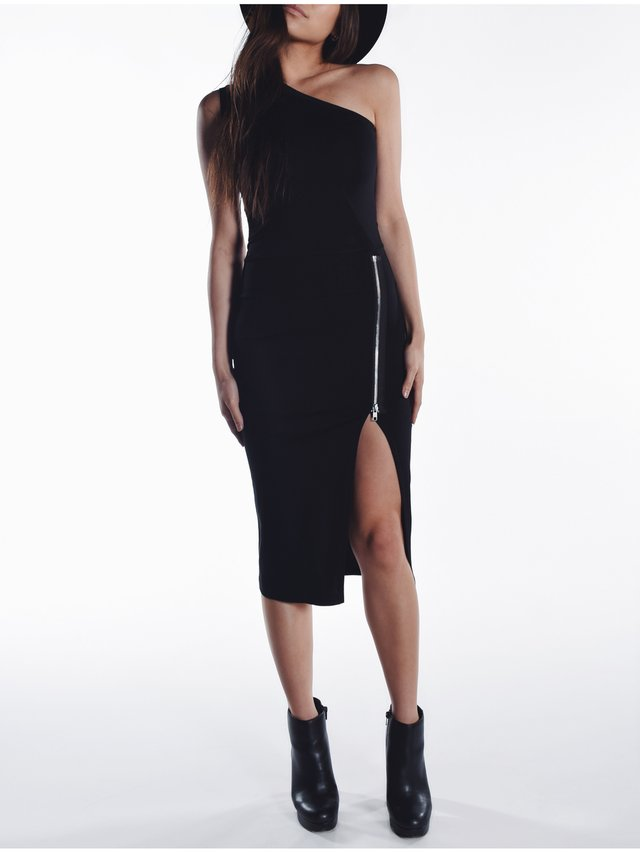 Cara Cheung Asymmetric Slit Dress - Black