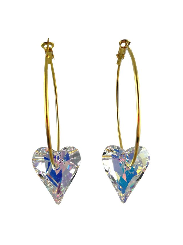 MizDragonfly Swarovski Crystal Heart Earrings White