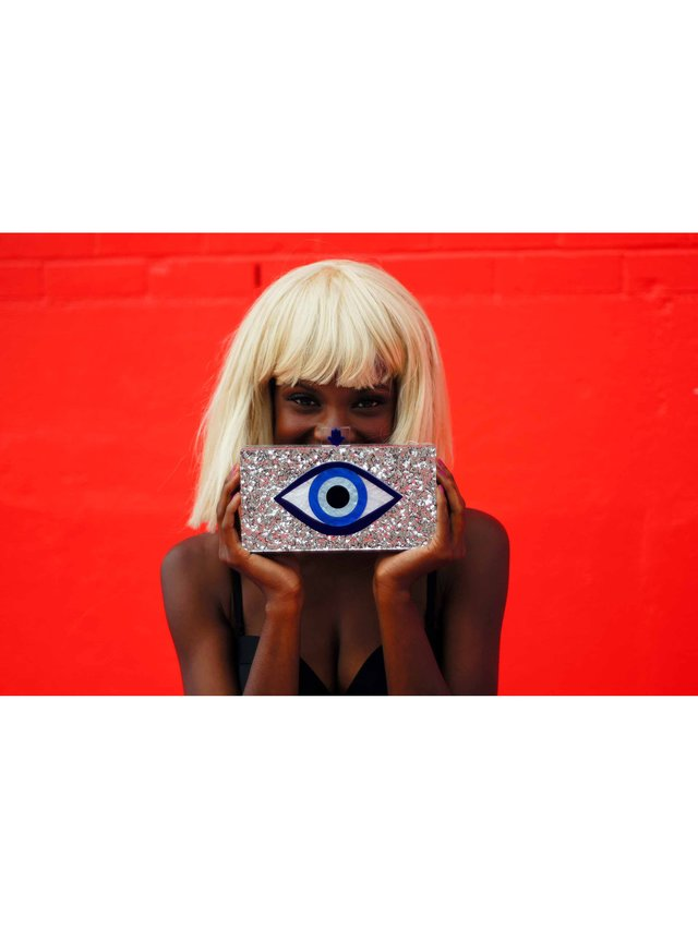 Milanblocks Silver Glitter Evil Eye Clutch