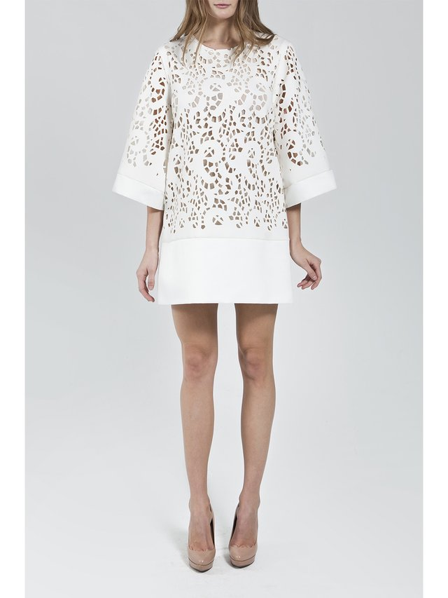 Narces Ivory Laser Cut Tunic Dress
