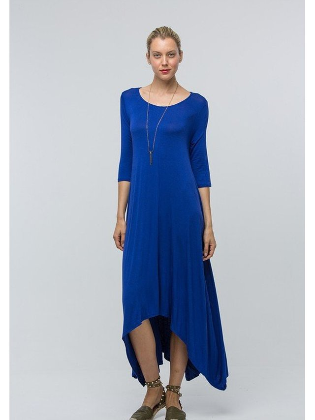 Arcade Attire Draped Maxi Pocket Dress - Royal