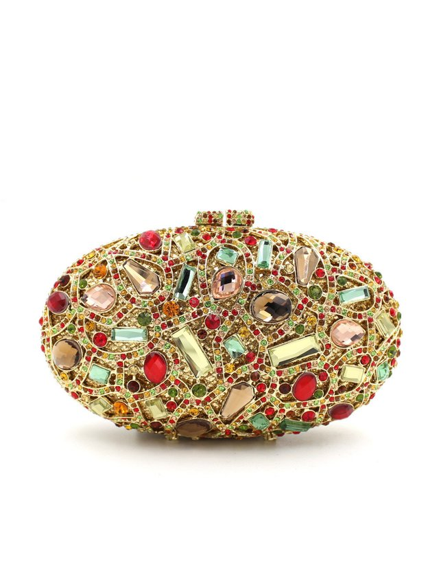 Milanblocks Golden Oval Rhinestone Colorful Box Clutch