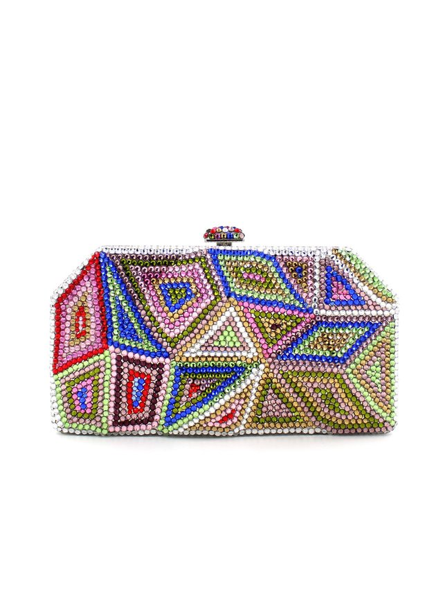 Milanblocks Crystal Minaudiere Pyramid Clutch