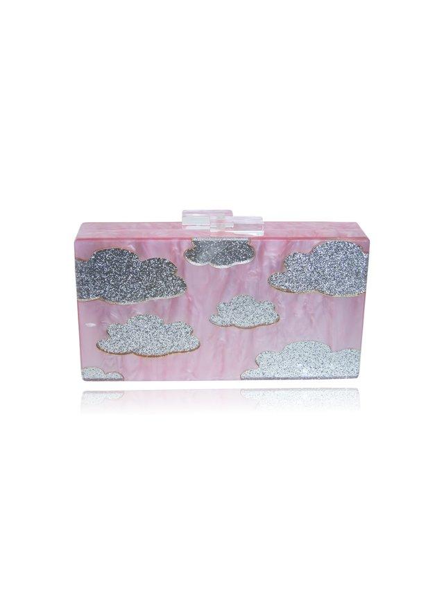 Milanblocks Pink Cloud Acrylic Box Clutch