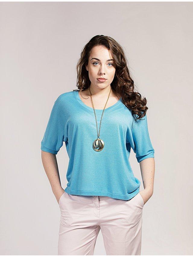 Asneh Alaskan Blue Gretha Batwing Top in Silk Cashmere