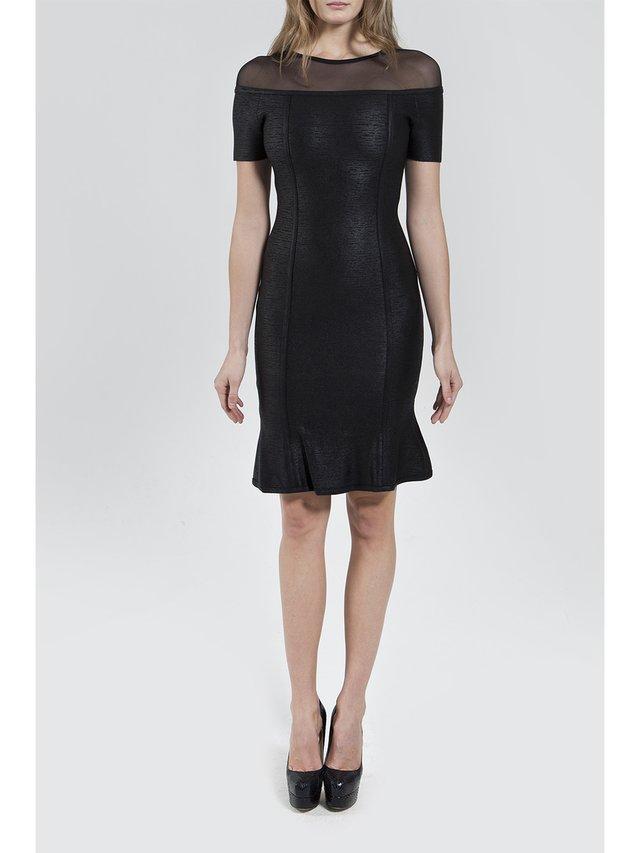 Narces Black Metallic Cut Out Dress