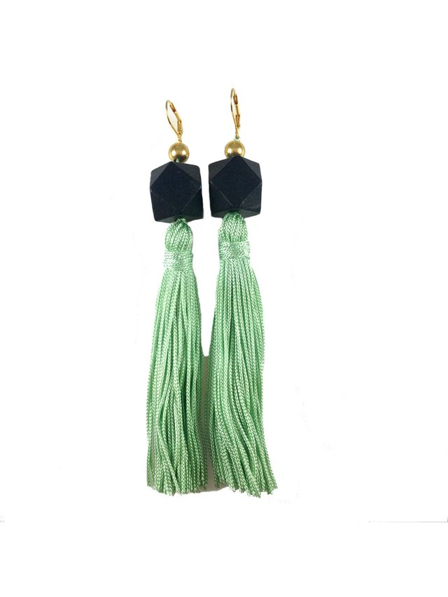 MizDragonfly Gaga Tassel Earrings Mint & Black