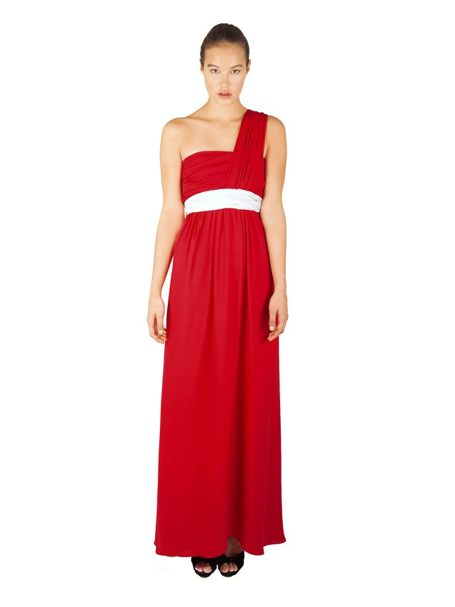 LIZA VETA Rubin Red Pleated Silk Double Georgette Dress