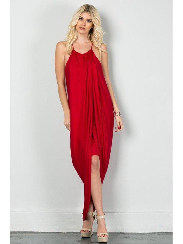 Arcade Attire Spaghetti Layered Skirt Dress - Tomato Red
