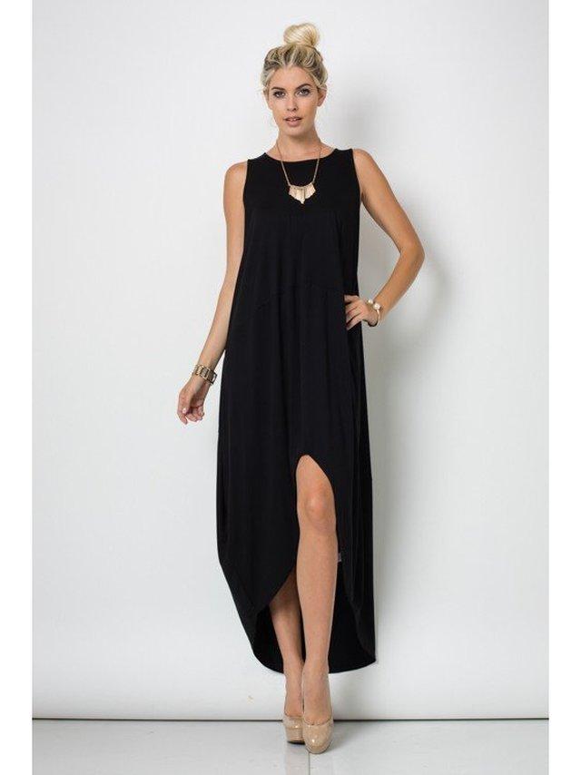 Arcade Attire Long Sleeve Round Neck Hi Lo Bubble Dress - Black
