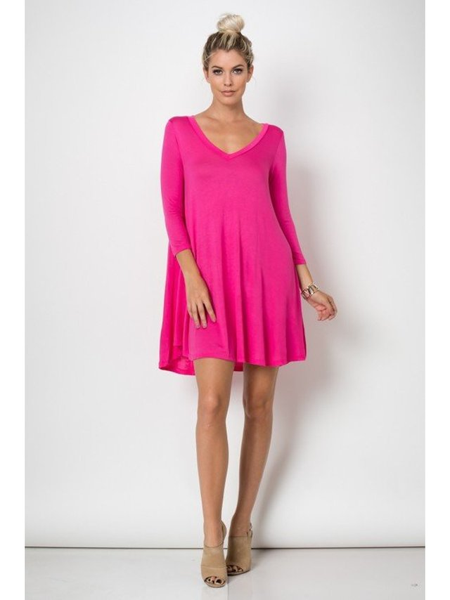 Arcade Attire Trapeze V Neck Mini Tunic Dress Top - Fuchsia