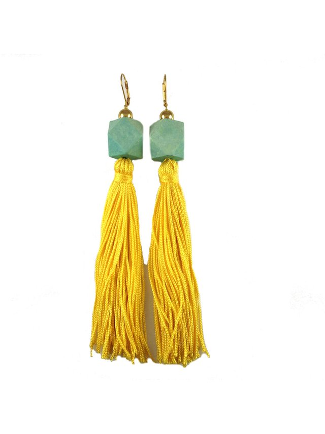 MizDragonfly Gaga Tassel Earrings Yellow & Turquoise