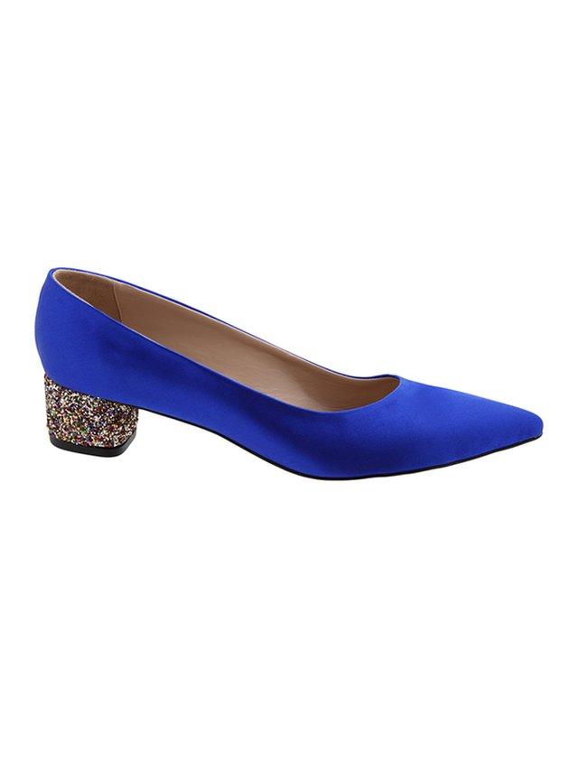 Kari C. Becca Sapphire Silk Satin Glitter Heel
