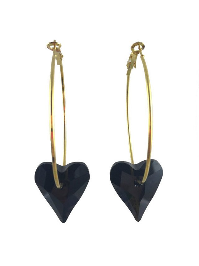 MizDragonfly Swarovski Crystal Heart Earrings Black