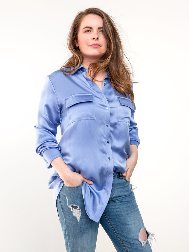 Hilary MacMillan Denim Boyfriend Blouse