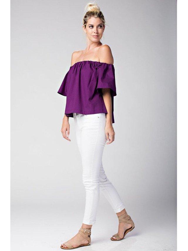 Arcade Attire Off The Shoulder Tunic Top - Purple
