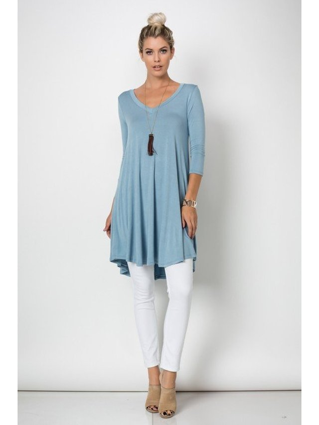 Arcade Attire Trapeze V Neck Mini Tunic Dress Top - Dusty Blue