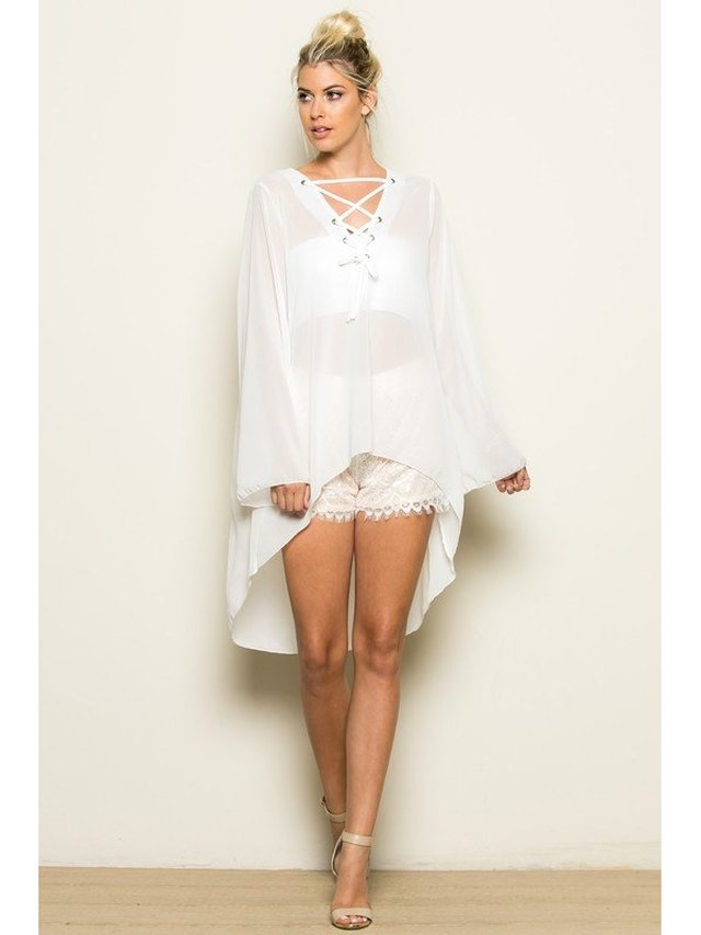 Arcade Attire Sheer High Low Long Sleeve Top - White