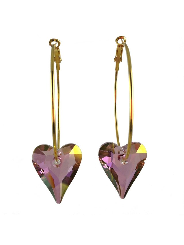 MizDragonfly Swarvoski Crystal Heart Earrings Antique Pink