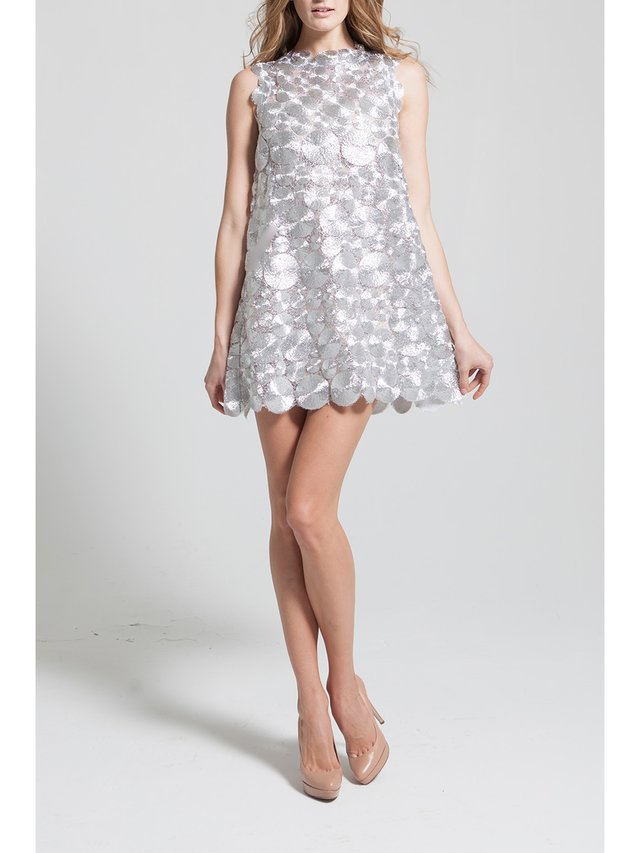 Narces Silver Bird Nest Lace Shift Dress