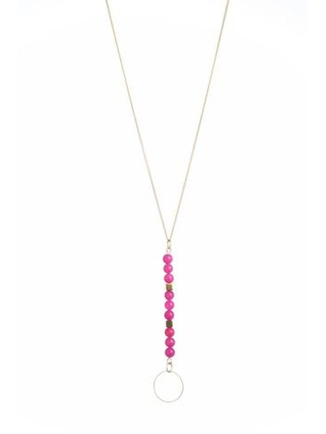 Monoxide Style Circle Bright Necklace - Hot Pink Jade