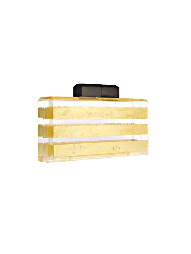 Stefanie Phan What I'm Really Saying 24k Gold and Clear Lucite Stripe Cutch
