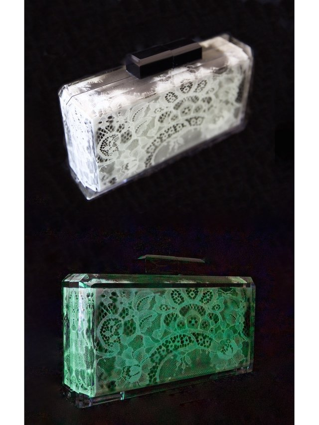 Stefanie Phan Only In The Dark Glow In The Dark Lace Acrylic Clutch