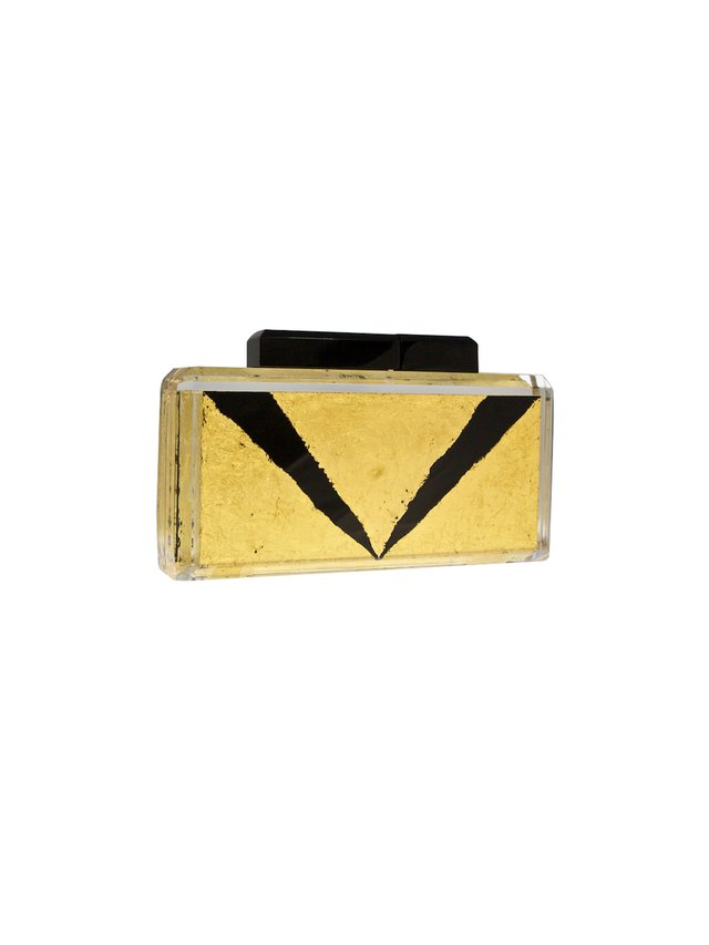 Stefanie Phan The Closer Black and Gold Acrylic Clutch