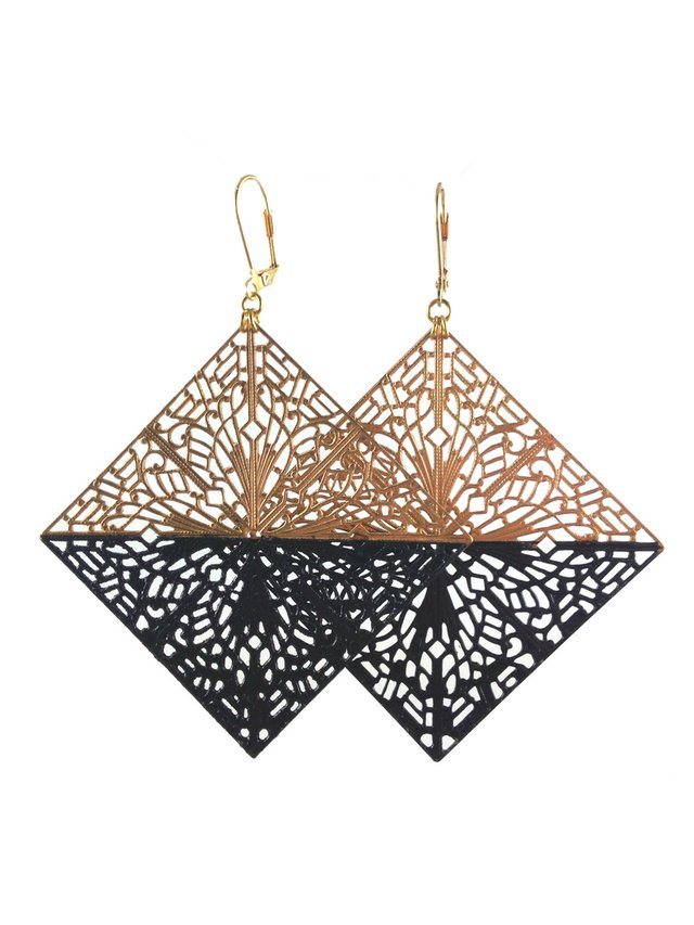 MizDragonfly Diamond Filigree Earrings Black