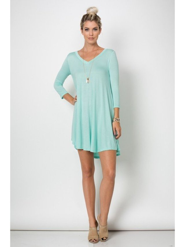Arcade Attire Trapeze V Neck Mini Tunic Dress Top - Mint