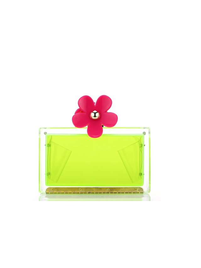 Milanblocks Neon Daisy Acrylic Perspex Box Clutch