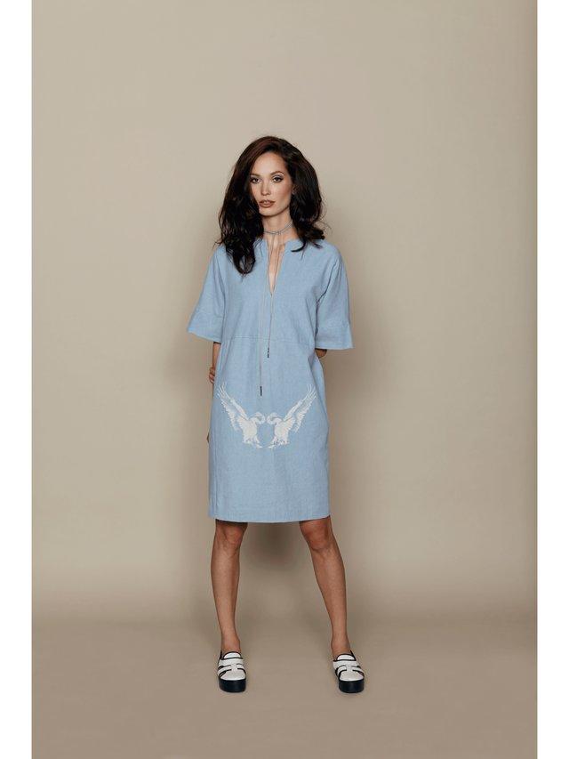 Hilary MacMillan Denim Swan Print Tunic Dress