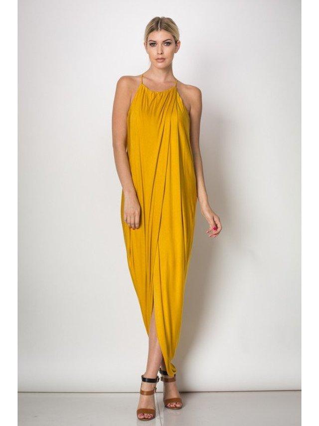 Arcade Attire Spaghetti Layered Skirt Dress - Mustard