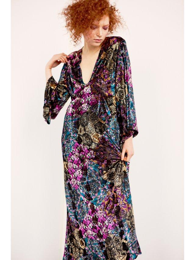 Hilary MacMillan Floral Burnout Maxi Dress