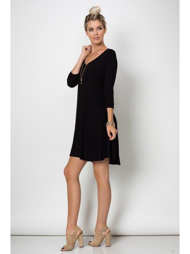 Arcade Attire Trapeze V Neck Mini Tunic Dress Top - Black