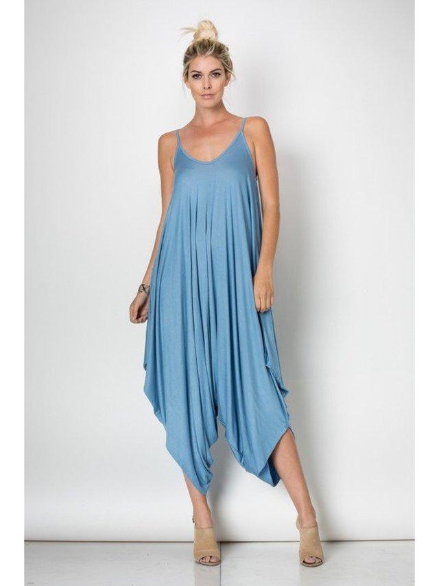 Arcade Attire Spaghetti String Jumpsuit - Prada Blue